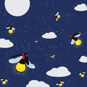 fireflies flying at night in summer