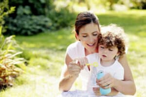 mother spending quality time with toddler