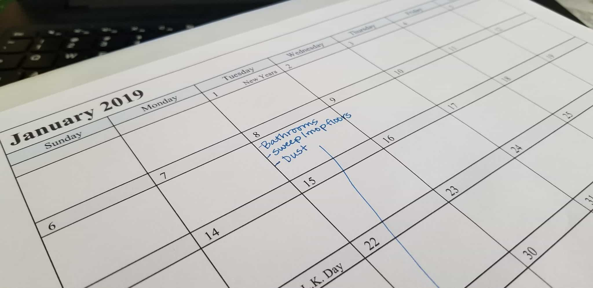 cleaning calendar for busy moms