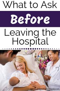 postpartum questions to ask before leaving the hospital pinterest pin