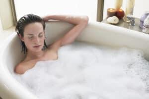 new mom taking bubble bath