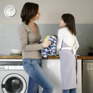 mother giving instructions to her daughter