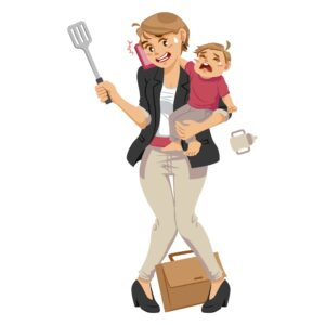 frantic working mom with child trying to make dinner