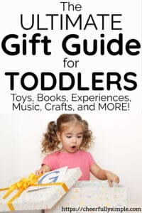 gift guide for toddlers with toddler opening birthday present