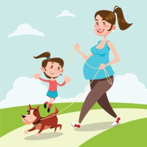 pregnant stay at home mom walking with daughter and dog