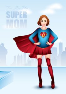 woman in super mom costume