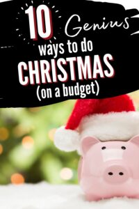 christmas budget pinterest pin with piggy bank