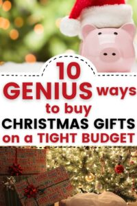 christmas budget pinterest pin with piggy bank and christmas gifts