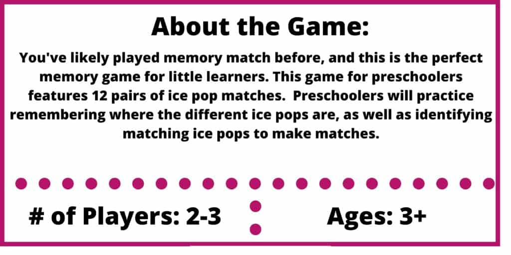 ice pops memory game review