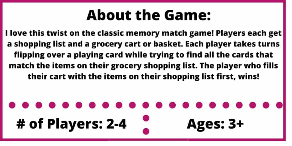 shopping list memory game review