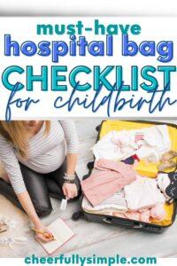 hospital bag checklist pinterest pin