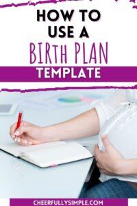 birth plan template pinterest pin